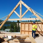 Timber Frame Lodge 1 - First Truss Up
